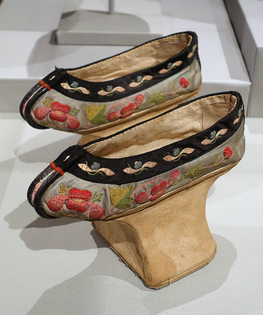 """The Manchu """"flower bowl"""" shoes designed to imitate bound feet, mid 1880s."""
