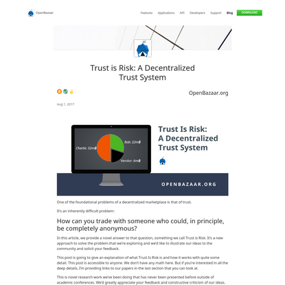 Trust is Risk: A Decentralized Trust System