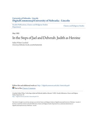 In the Steps of Jael and Deborah: Judith as Heroine