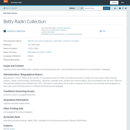 Betty Radin Collection - Archives Hub