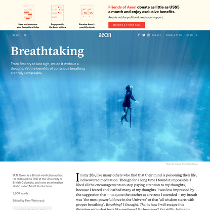 Do hold your breath: on the benefits of conscious breathing - M M Owen   Aeon Essays