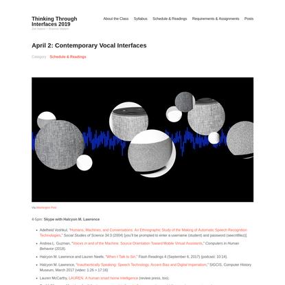 April 2: Contemporary Vocal Interfaces