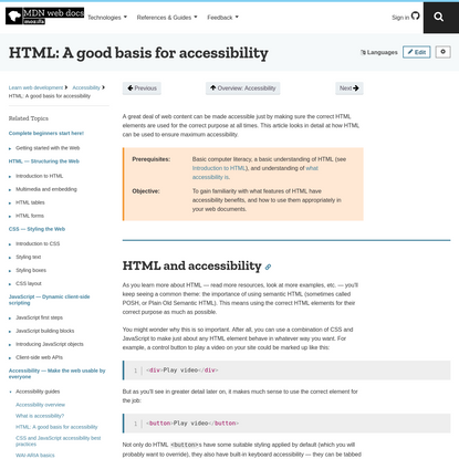 HTML: A good basis for accessibility