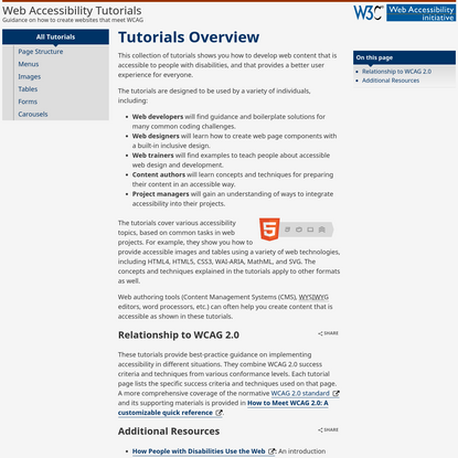 Tutorials Overview * WAI Web Accessibility Tutorials