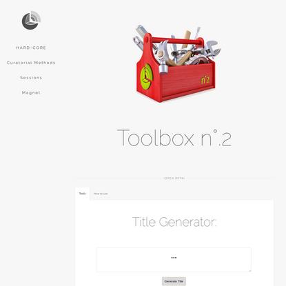 Toolbox n°.2 (open beta)