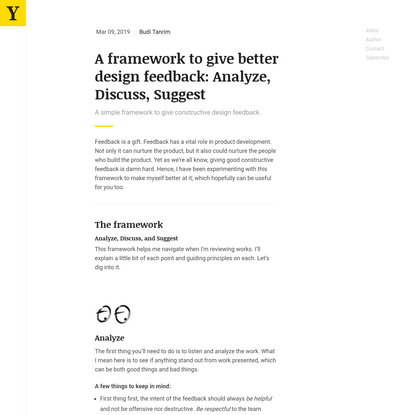 A framework to give better design feedback: Analyze, Discuss, Suggest