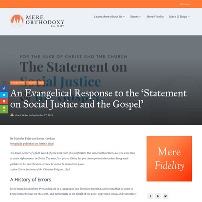 An Evangelical Response to the Statement on Social Justice & The Gospel