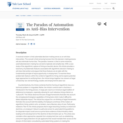 The Paradox of Automation as Anti-Bias Intervention - Yale Law School