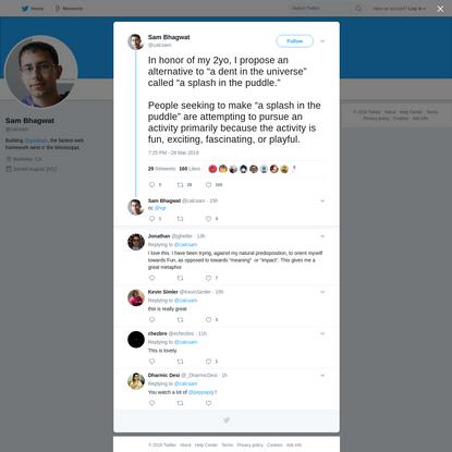 Sam Bhagwat on Twitter