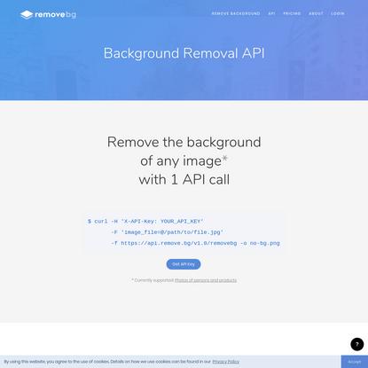 Background Removal API - remove.bg