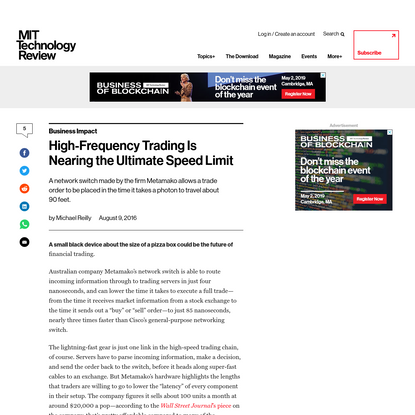High-frequency trading hardware is approaching light speed