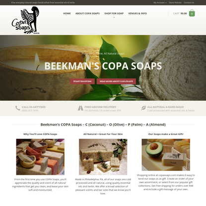 Beekman's COPA Soaps - Fine, All Natural Soaps