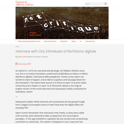 Interview with Ora 24/release of Nichilismo digitale